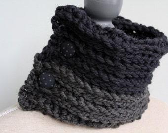 MERINO wool cowl,dual toned cowl with polka dot fabric buttons,merino wool scarf,button cowl,chunky wool cowl,grey neckwarmer,grey wool cowl