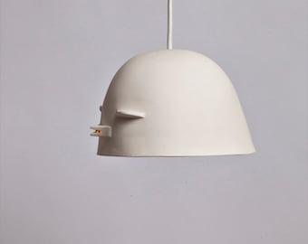 Bird lamp shade - raw sanded porcelain