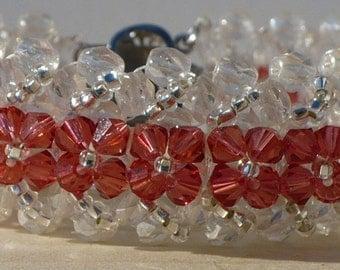 Pink Bracelet, Swarovski Bracelet, Bridal Bracelet, Swarovski Woven Padparadscha Crystal  and Crystal Fire Polish Bead Bracelet - 6 Inches