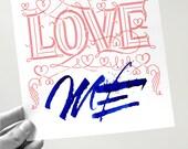 LOVE printed / hand-written card