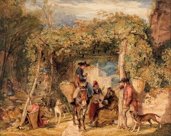 """John Frederick Lewis : """"Figures and Animals in a Vineyard"""" (c1829) - Giclee Fine Art Print"""