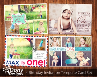BUY 1 GET 1 FREE 4 Photo Birthday Invitation Photocard Photoshop Template Set Instant Download: cardcode-130