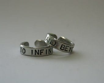 To Infinity and beyond rings, Set of 2, BFF ring, Sister rings, Boyfriend girlfriend jewelry, Personalized rings,Gifts for Best Friends