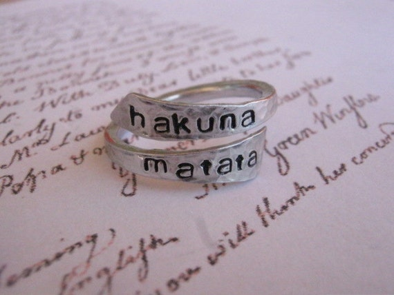 Hakuna matata ring, Disney, Personalized ring, Gifts for Best Friends, Graduation, Aluminum Ring, Hakuna Matata, Best Friend Rings, Sister