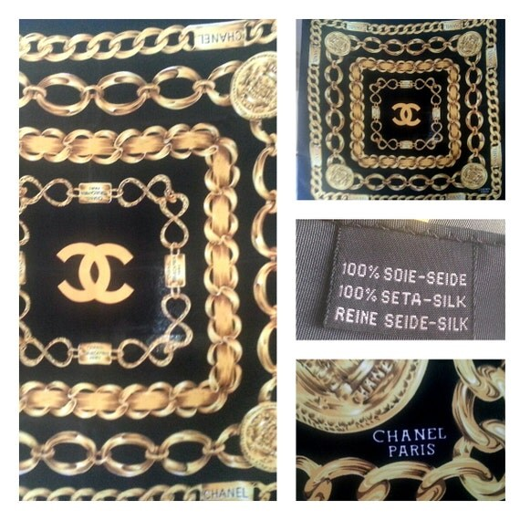Chanel authentic black gold chain link bling by xrarexfindsx for Authentic chanel logo t shirt