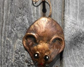 Mouse Ornament  in Copper Hand Formed by The Blue Coppersmith - TheBlueCopperSmith