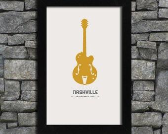 Nashville - Guitar - City Print Poster - 11x17