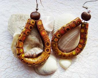 Polymer clay earrings Dangle earrings OOAK earrings Drop earrings Brown earrings Tribal Yellow boho earrings Rustic earrings Large Casual