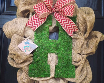Burlap wreath with moss center letter // burlap and chevron bow