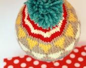 REID: Handknit baby hat, 6 month size, stripes, pom-pom