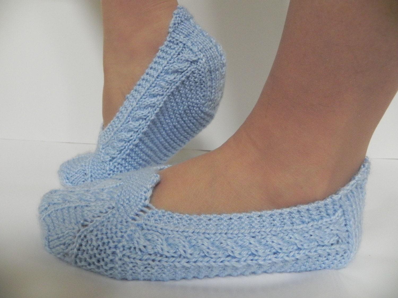 Knitting Pattern For Womens Slippers : Hand Knitted Women Slippers Winter slippersHandmade