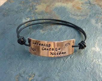 Serenity, Courage, Wisdom Leather and Copper Recovery Bracelet