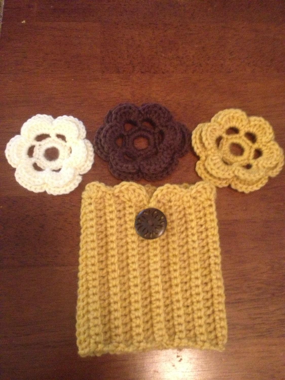 Crochet Boot Cuffs w/changeable flowers