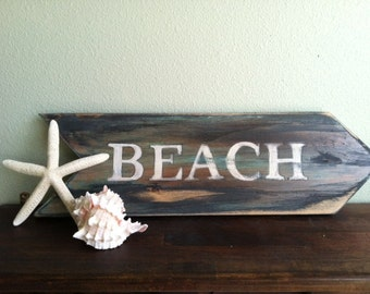 Beach Sign ,Ocean Decor, Rustic Hand Painted Arrow, Weathered Sign, Beach House Decor, Primitive Home Decor.