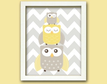 Nursery Art, Nursery Owl Art, Grey and Yellow Nursery, Owl nursery print, Owl Nursery, Choose your colors