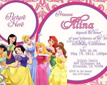 CUSTOM PHOTO Invitations Disney Princess Birthday Invitation - You Print - PRINTABLE - I Customize You Print - 4x6 or 5x7