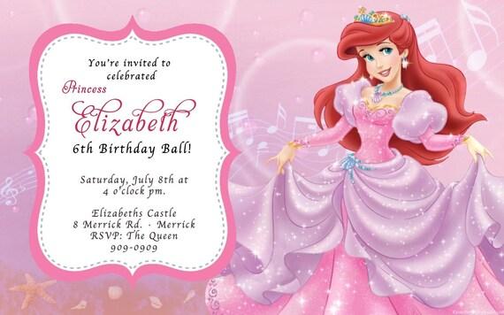 custom photo invitations the little mermaid ariel birthday, Birthday invitations
