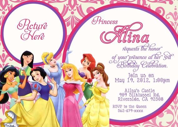 CUSTOM PHOTO Invitations Disney Princess Birthday Invitation