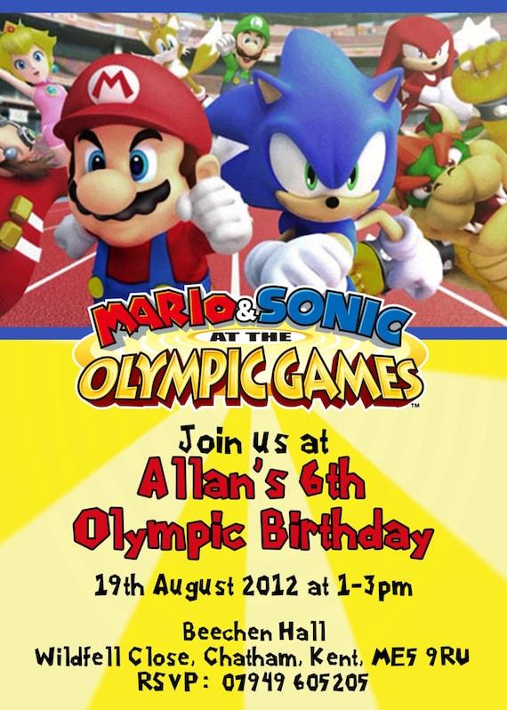 CUSTOM PHOTO Invitations Mario Sonic Birthday Invitation 5x7 – Sonic Birthday Invitations