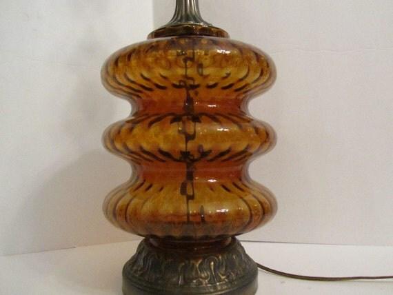 Retro Lamp Amber Glass Glass Bubble 70s Table Lamp