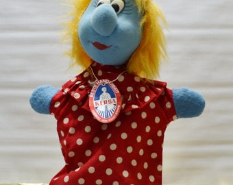 Vintage German Kersa Smurfette Smurf Hand Puppet with Tag