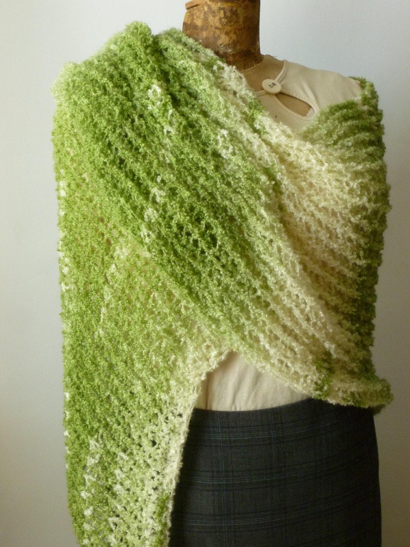 Loom Knit Shawl Pattern : Loom Knit Shawl in Clover Field Green