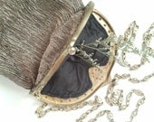 Vintage Metal Frame Silk Evening Bag with Chain Strap