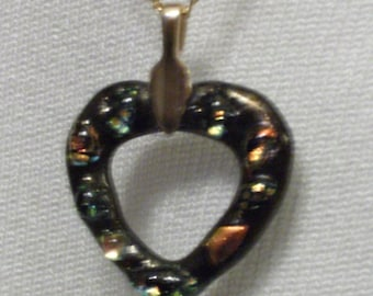 Black Glass Heart Pendant Necklace with dichroic glass highlights