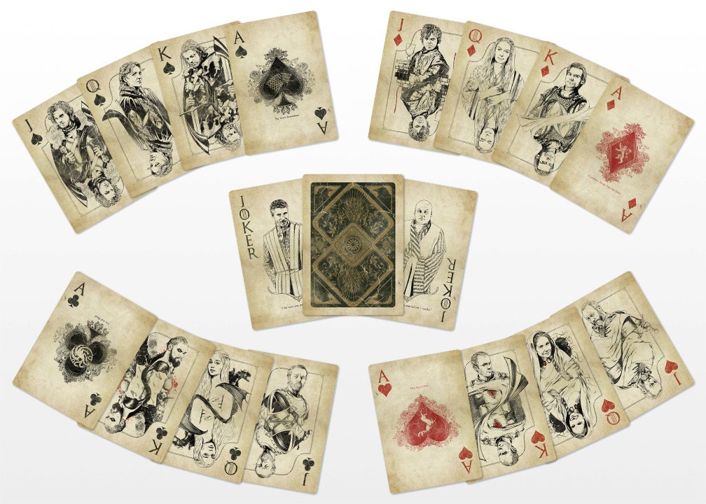 Game of thrones playing cards vintage for Vintage sites like etsy