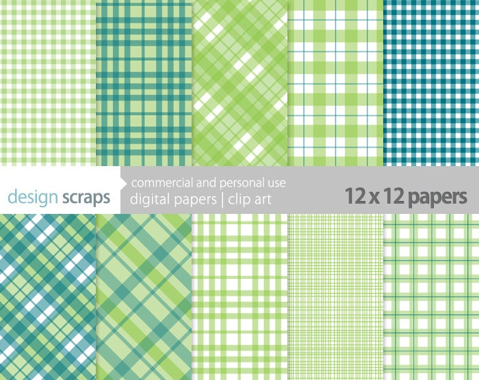 Checkered Scrapbook Paper Plaid Digital Scrapbook Paper