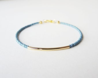 Gold bar bracelet - friendship bracelet - Blue
