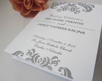 Tri-fold Wedding Program - Elegant Flourish - Personalized Wedding Ceremony Program