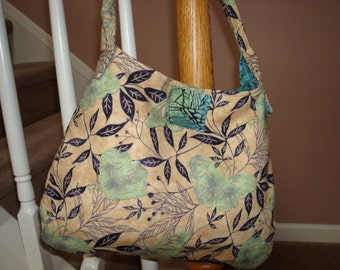 Tan Hobo Bag with Butterfly Design, Contrasting Blue/Green Abstract Print Lining,  Medium Size