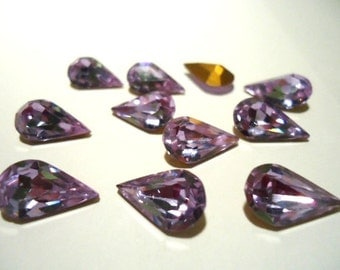 Alexandrite Crystal Vintage Glass Teardrop Lilac purple colour foiled stone jewels approx 13mm x 7.8mm - 6 pieces Article no 308