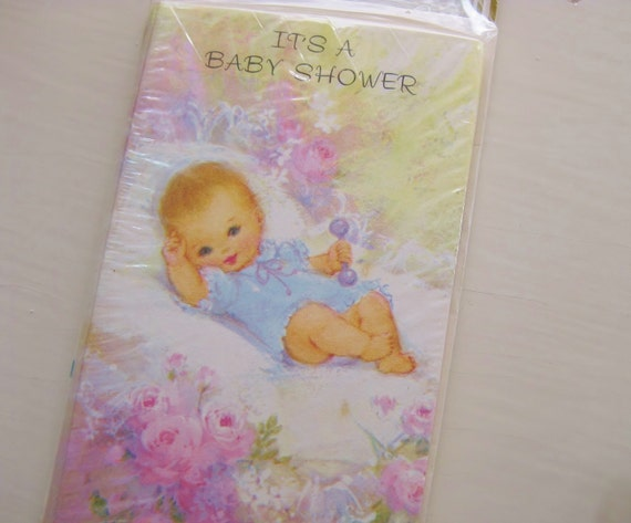 It's a Baby Shower! Invites in original wrap. Sweet! New baby.  Vintage stationery. NOS