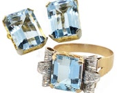 Sold--------------Payment Due 10/9 Kim---------------Retro Large Emerald Cut Aquamarine Ring & Earrings Set