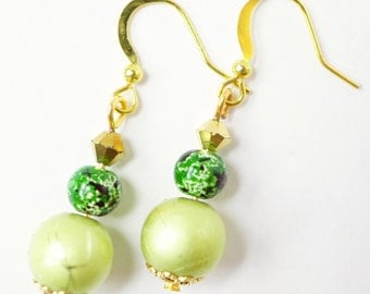 Lime green and dark green earrings
