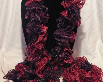 Sparkled Burgundy Varigated Knit Ruffle Scarf