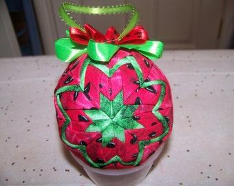 Summer time Watermelon Quilted Ornament