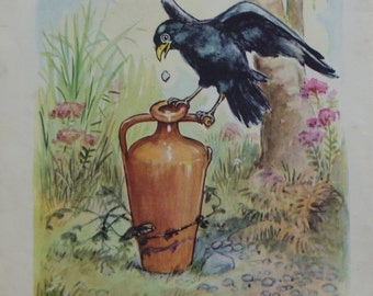 VINTAGE BOOK PRINT, children's book print, the crow and the pitcher, 1940s, nursery wall art, nursery decor