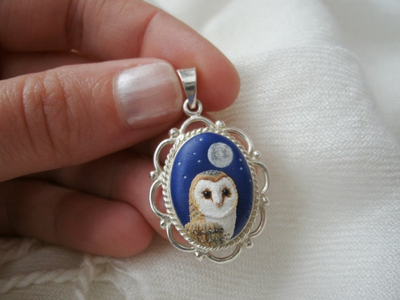 Barn Owl Bird Necklace Pendant with Night Sky Backdrop - Hand Sculpted miniature bird scene framed in sterling silver