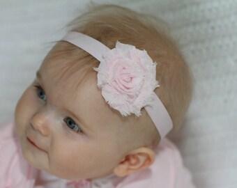Pink Shabby Headband, Shabby Chic Headband, Baby Headbands, Baby Girl Headband, Toddler Headband