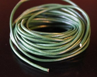 5 yards dark green 2 mm leather cord, 15 feet