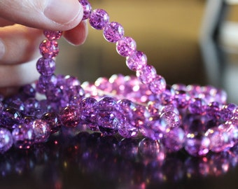 100 approx. violet 8 mm crackle glass beads, 1 mm hole