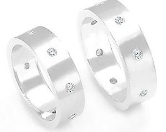 Wedding band sets, Diamond Wedding Rings,Contemporary Diamond Rings