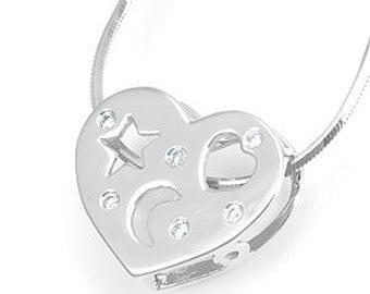 Diamond Heart Slider Pendant, 14K White Gold Ladies Pendant, Ladies Fine Jewelry