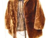 Adorable Medium, Vintage, Brown, Faux-Fur Woman's Coat