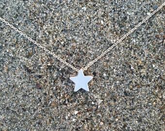 Matte Silver Star Necklace, Tiny Star Pendant