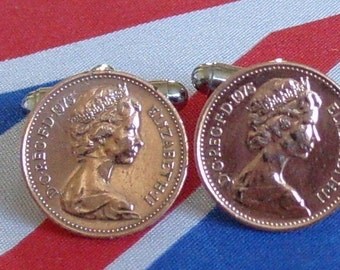 Boxed Pair Vintage British 1975 Half Pence Penny Coin Cufflinks Wedding 42nd Birthday Anniversary