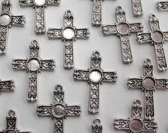 4 Crucifix Charm Pendants, 31 mm - Item 50133